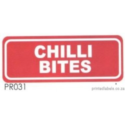 CHILLI BITES - 1000 Full colour LABELS