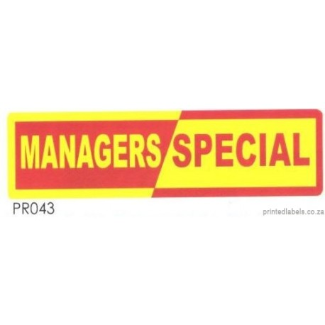 MANAGERS SPECIAL - 2000 Full colour LABELS